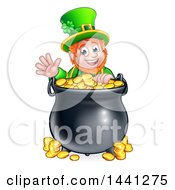 Clipart Of A Cartoon Friendly St Patricks Day Leprechaun Waving Over A Pot Of Gold Royalty Free Vector Illustration by AtStockIllustration