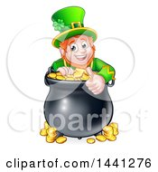 Clipart Of A Cartoon Friendly St Patricks Day Leprechaun Giving A Thumb Up Over A Pot Of Gold Royalty Free Vector Illustration by AtStockIllustration