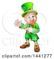 Clipart Of A Cartoon Friendly St Patricks Day Leprechaun Waving And Pointing Royalty Free Vector Illustration