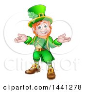 Clipart Of A Cartoon Friendly St Patricks Day Leprechaun Shrugging Royalty Free Vector Illustration by AtStockIllustration