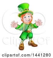 Clipart Of A Cartoon Friendly St Patricks Day Leprechaun Welcoming Royalty Free Vector Illustration