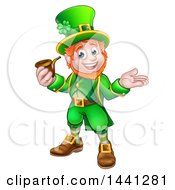 Clipart Of A Cartoon Friendly St Patricks Day Leprechaun Presenting And Holding A Pipe Royalty Free Vector Illustration