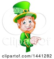 Clipart Of A Cartoon Friendly St Patricks Day Leprechaun Pointing Around A Sign Royalty Free Vector Illustration