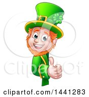 Clipart Of A Cartoon Friendly St Patricks Day Leprechaun Holding A Thumb Up Around A Sign Royalty Free Vector Illustration by AtStockIllustration