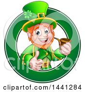 Clipart Of A Cartoon Friendly St Patricks Day Leprechaun Giving A Thumb Up And Smoking A Pipe In A Green Circle Royalty Free Vector Illustration by AtStockIllustration