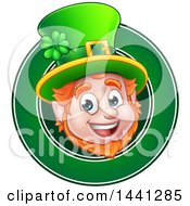 Clipart Of A Cartoon Friendly St Patricks Day Leprechaun Face In A Green Circle Royalty Free Vector Illustration by AtStockIllustration