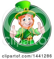 Clipart Of A Cartoon Friendly St Patricks Day Leprechaun Giving Two Thumbs Up In A Green Circle Royalty Free Vector Illustration by AtStockIllustration