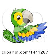 Clipart Of A Cartoon Green Macaw Parrot Pointing Around A Sign Royalty Free Vector Illustration by AtStockIllustration