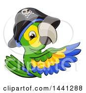 Clipart Of A Green Macaw Pirate Parrot Pointing Around A Sign Royalty Free Vector Illustration by AtStockIllustration