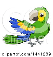 Clipart Of A Cartoon Green Macaw Parrot Presenting Royalty Free Vector Illustration by AtStockIllustration