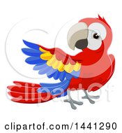 Clipart Of A Scarlet Macaw Parrot Presenting Royalty Free Vector Illustration by AtStockIllustration