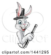 Clipart Of A Happy White Rabbit Magcician Wearing A Hat And Holding A Wand Around A Sign Royalty Free Vector Illustration