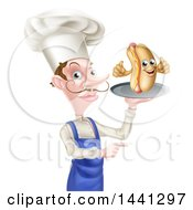 White Male Chef With A Curling Mustache Holding A Hot Dog Character On A Platter And Pointing