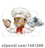 Clipart Of A Cartoon Happy Young Black Male Chef Holding A Cloche Platter And Gesturing Ok Or Perfect Royalty Free Vector Illustration