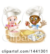 Clipart Of A Cartoon Happy Black Boy And White Girl Baking Star Shaped Cookies Royalty Free Vector Illustration