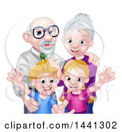 Clipart Of A Happy Caucasian Senior Man And Woman With Their Grandchildren Royalty Free Vector Illustration