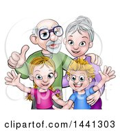 Clipart Of A Cartoon Happy Caucasian Boy And Girl With Their Grandparents Royalty Free Vector Illustration