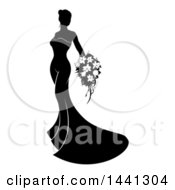 Clipart Of A Silhouetted Black And White Bride In Her Dress Holding A Bouquet Royalty Free Vector Illustration