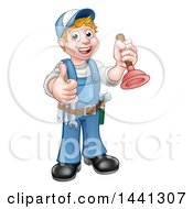 Clipart Of A Cartoon Full Length Happy White Male Plumber Holding A Plunger And Giving A Thumb Up Royalty Free Vector Illustration