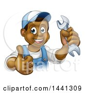 Poster, Art Print Of Cartoon Happy Black Male Mechanic Holding Up A Wrench And Giving A Thumb Up