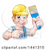 Poster, Art Print Of Cartoon Happy White Male Painter Holding Up A Brush And Pointing