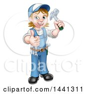Clipart Of A Cartoon Full Length Happy White Female Carpenter Holding Up A Hammer And Giving A Thumb Up Royalty Free Vector Illustration by AtStockIllustration