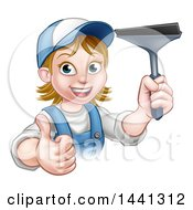 Clipart Of A Cartoon Happy White Female Window Cleaner In Blue Giving A Thumb Up And Holding A Squeegee Royalty Free Vector Illustration