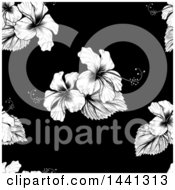 Seamless Black And White Tropical Hibiscus Flower Background Pattern
