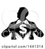 Clipart Of A Black And White Silhouetted Strong Business Man Super Hero Ripping Off His Suit Revealing A Dollar Currency Symbol Royalty Free Vector Illustration