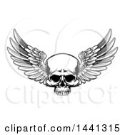 Clipart Of A Black And White Winged Skull Royalty Free Vector Illustration