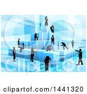 Poster, Art Print Of Team Of Silhouetted Business Men And Women Assembling A Pyramid Of 3d Blue Cubes On Blue