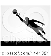 Clipart Of A Black Silhouetted Goal Keeper Soccer Player Blocking The Ball Over Gray Royalty Free Vector Illustration by AtStockIllustration
