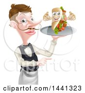 Clipart Of A Cartoon Caucasian Male Waiter With A Curling Mustache Holding A Kebab Sandwich Character On A Tray And Pointing Royalty Free Vector Illustration by AtStockIllustration