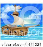 Clipart Of A Wooden Ship In A Beautiful Blue Sea At Sunrise Or Sunset Royalty Free Vector Illustration