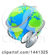 Clipart Of A Bright Blue And Green World Earth Globe With A Stethoscope Royalty Free Vector Illustration by AtStockIllustration