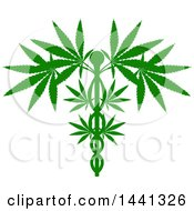 Silhouetted Green Medical Marijuana Design With A Cannabis Plant Growing On A Caduceus