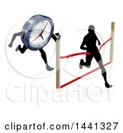 Clipart Of A Silhouetted Man Running Through A Finish Line Before A Clock Character Royalty Free Vector Illustration by AtStockIllustration