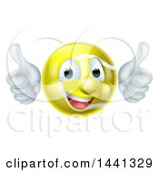 Cartoon Happy Tennis Ball Mascot Giving Two Thumbs Up