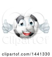 Cartoon Happy Soccer Ball Mascot Giving Two Thumbs Up