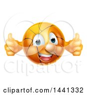 Poster, Art Print Of Cartoon Happy Basketball Character Holding Two Thumbs Up