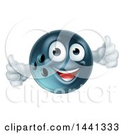Poster, Art Print Of Happy Bowling Ball Mascot Giving Two Thumbs Up