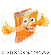 Clipart Of A Happy Book Character Mascot Giving Thumbs Up Royalty Free Vector Illustration