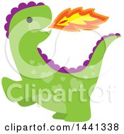 Clipart Of A Cute Green And Purple Fire Breathing Dragon With Heart Shaped Spots Royalty Free Vector Illustration