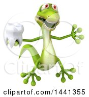 3d Green Gecko Lizard On A White Background
