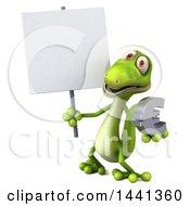 3d Green Gecko Lizard On A White Background