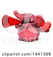 Clipart Of A 3d Pink Elephant Character On A White Background Royalty Free Illustration