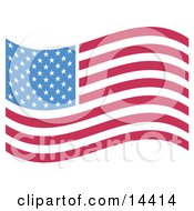 The American Flag With White Stars Over Blue And Rows Of Red And White Stripes Clipart Illustration