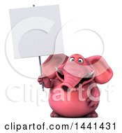3d Pink Elephant Character Holding A Blank Sign On A White Background