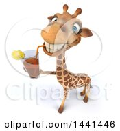 Poster, Art Print Of 3d Giraffe Drinking A Beverage On A White Background