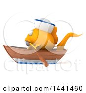 3d Yellow Sailor Fish On A White Background